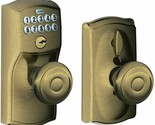 Handleset Camelot Keypad Entry with Flex-Lock and Georgian Style Antique Brass