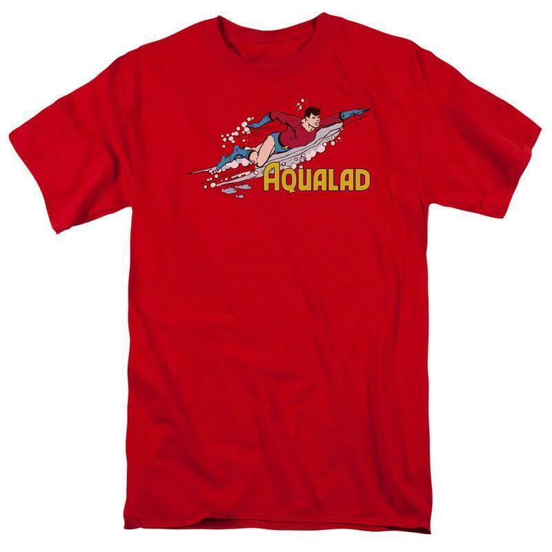 Aqualad t shirt aquaman retro superhero cartoon dc cotton red graphic tee
