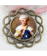 Betsy Ross Round Vintage Antique Gold Needleminder cross stitch accessory - £9.66 GBP