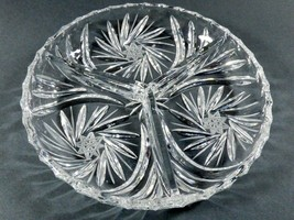 Elegant Bohemian Hand Cut Pinwheel Crystal Divided Pickle Candy Nut Dish - $22.28