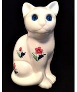 Cat Figurine Portugal Elpa Alcobaca White Floral Ceramic Blue Glass Eyes... - $27.72