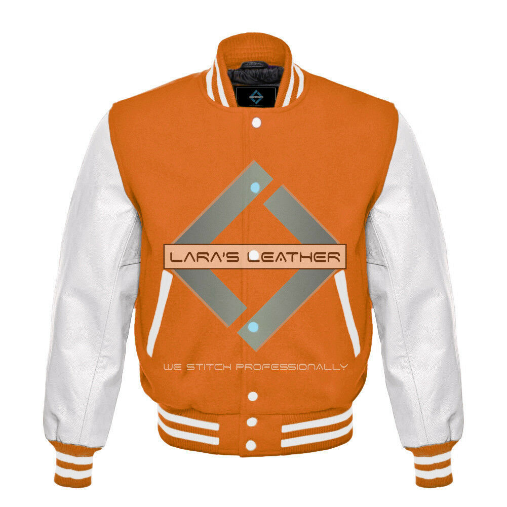 Primary image for College Baseball Letterman Varsity Orange Wool Jacket/Real Leather Sleeve XS-4XL