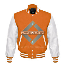 College Baseball Letterman Varsity Orange Wool Jacket/Real Leather Sleev... - $92.99
