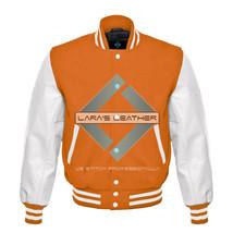 College Baseball Letterman Varsity Orange Wool Jacket/Real Leather Sleev... - $92.99