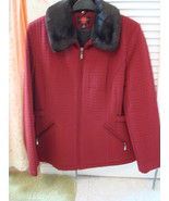 Galary M Medium Women's red quilted Coat Jacket w/faux fur collar  - $21.77