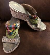 Spring Step Floral Gray Espadrille Wedge Heel Sandal Women EU SZ 39 US 8.5 - $26.72