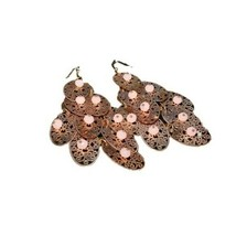 Rose Gold Filigree Drop Dangle Hoop Earrings w/ Beads - $12.28