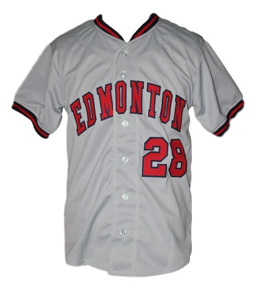 Custom name   edmonton trappers retro baseball button down jersey grey   1