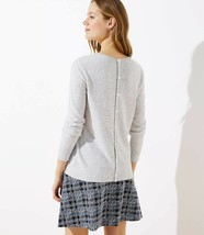 LOFT Button Back Sweater Light Grey Heather New - $29.99