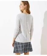 LOFT Button Back Sweater Light Grey Heather New - $29.99