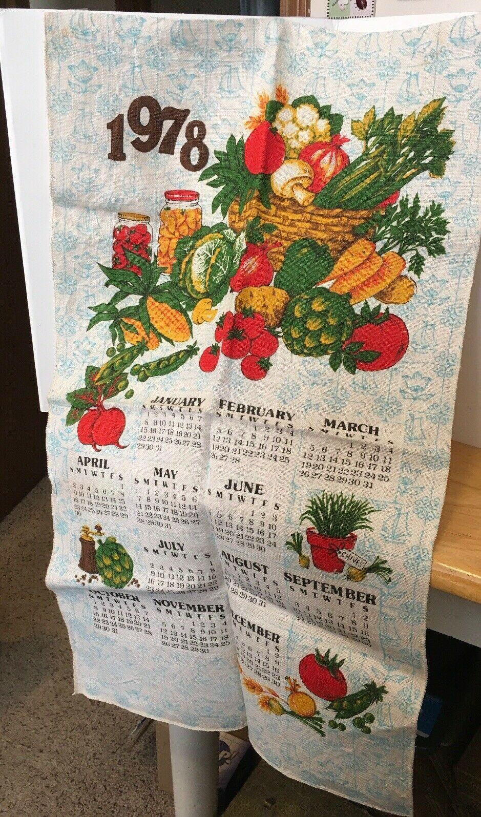 1978 Vtg Calendar w/ Veggies Tea Towel