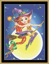 Witch On A Broom halloween cross stitch chart Mystic Stitch - $14.40