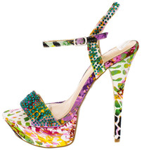 Colorful Flower Rhinestone Open Toe Stiletto High Heel Platform Prom Sho... - $36.99