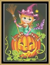 Witch On A Pumpkin halloween cross stitch chart Mystic Stitch - $14.40