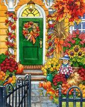 Decorated For Fall autumn scarecrow cross stitch chart Mystic Stitch - $14.40