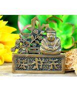 Vintage Buddha Brass Oriental Asian Symbols Flowers Brooch Pin Figural - $29.95