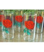 Fabulous Vintage Red ROSE Decal Drinking Glasses!! Set of Six - Vibrant ... - $48.00