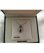 New 925 sterling silver insect lady bug diamond pendant necklace - $41.78