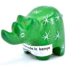 SMOLArt Hand Carved Soapstone Green Rhinoceros Miniature Figurine Made in Kenya image 2
