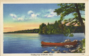 Vintage Unused Linen Newport Maine Postcard