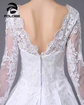 Satin and lace Long Sleeve A-Line Wedding Dress at Bling Brides Bouquet image 3