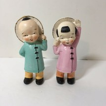 "2 Boy Girl Figurine Chinese Oriental Japanese Marked Japan 5"" - $9.74"