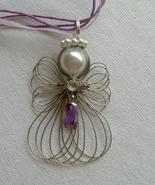 Pancreatic Cancer Awareness Ribbon Angel Neckla... - $11.00