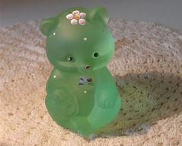 Fenton Satin Willow Green HP Dotted Swiss Bear - $24.95