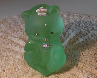 Fenton Satin Willow Green HP Dotted Swiss Bear