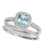 925 Sterling Silver Cushion-Cut Aquamarine & CZ Dia Bridal Wedding Halo Ring Set - $103.99