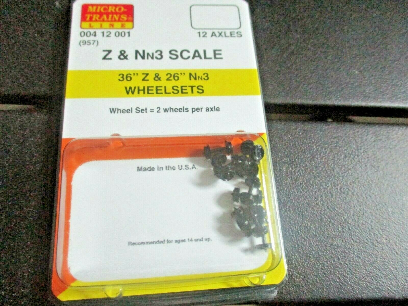 """Micro-Trains Stock # 00400412001 (957) 36"""" Z & 26"""" Nn3  Wheelsets 12 Axles Pack"""