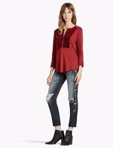 NWT Lucky Brand Merlot Red Burnout Velvet Bib Knit Top Blouse Roll Tab S... - $16.82