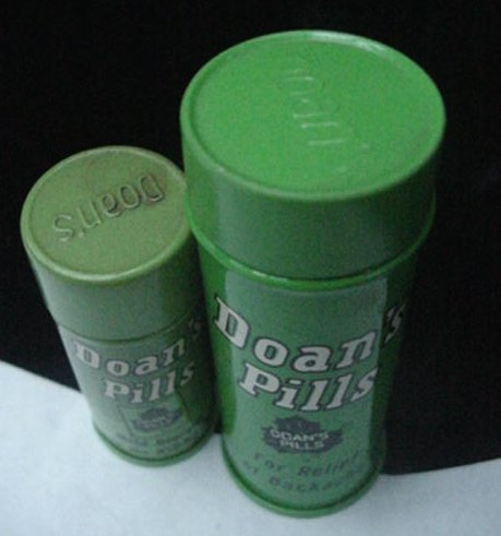 2 Old Doan's Back Pain Kidney Medicine Tin Can Container