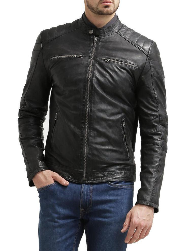 New Men's Stylish Lambskin Genuine Leather Motorcycle Biker Slim Fit Jacket GN12