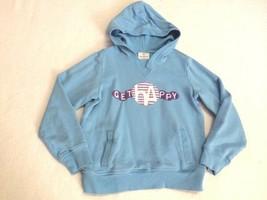 Hanna Andersson Girls 130 8 Blue Get Happy Hooded Applique Sweatshirt Po... - $14.99