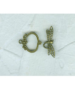 Antiqued Gold Toggle Clasp Dragonfly Single Strand Necklace - $4.99