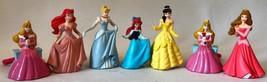 7 Disney's Princesses Pvc Figure Cake Topper Cinderella, Belle, Aurora, ... - $14.60