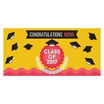 Yellow Class of 2017 Graduation Banner Personalized Backdrop - $416,92 MXN