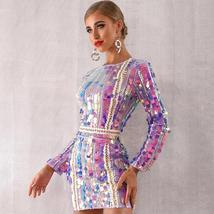 Sexy Violet Long Sleeve Sequined Mini Luxury Club Dress image 2