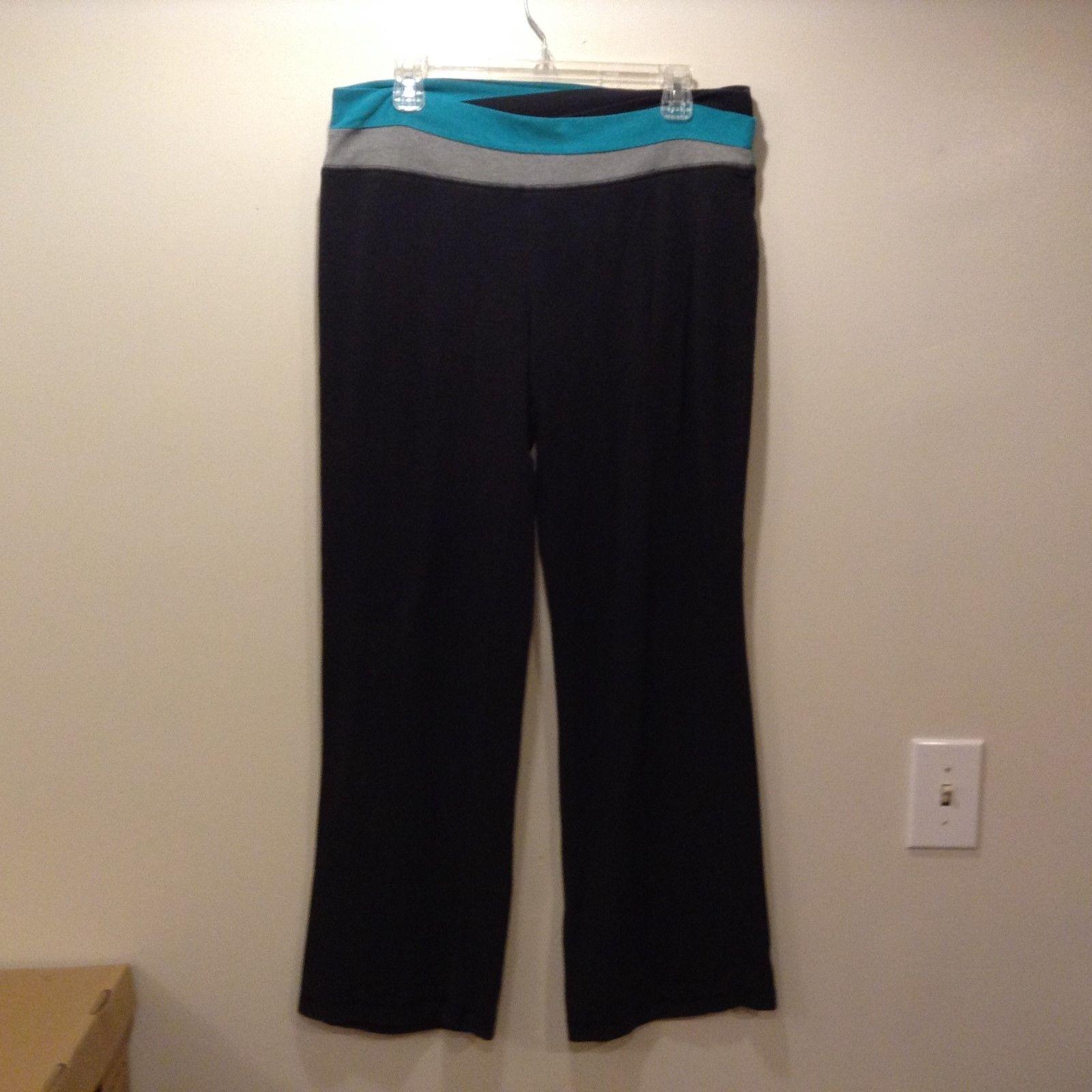 Just Be Ladies Black w Grey/Lt Blue Waistband Legging Pants Sz LG