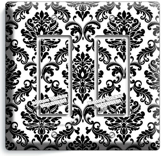 BLACK AND WHITE DAMASK MOTIVE LIGHT SWITCH 2 GFCI WALL PLATE ROOM HOME ART DECOR