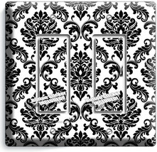 BLACK AND WHITE DAMASK MOTIVE LIGHT SWITCH 2 GFCI WALL PLATE ROOM HOME A... - $12.99
