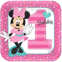 "Minnie Mouse Fun to Be One 8 9"" Lunch Plates 1st Birthday Party - £3.60 GBP"