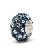 Navy Blue and White (Clear) Crystal Spotted Charm Bead - $24.99