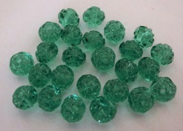 25 5/6 mm Czech Glass Small Rosebud Beads: Emerald - $2.01