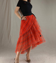 Women High Waist Wrap Tulle Skirts Red Plaid Wrap Skirt Tulle Party Formal Skirt image 9