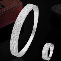 Women Bracelet Ring Jewelry Set Wedding Gold White Dubai Bangle AAA Zirc... - $35.00
