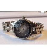 Lady CHRISTIAN BENET Diamond Quartz Gemstone Watch, Black Face, New Battery - $11.99