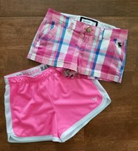 2 Abercrombie Justice Girls Active Athletic Shorts Size 10 Pink White Blue Plaid - $16.33