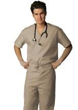Khaki Scrub Set XL V Neck Top Drawstring Pants Unisex Uniforms 2 Piece New image 2